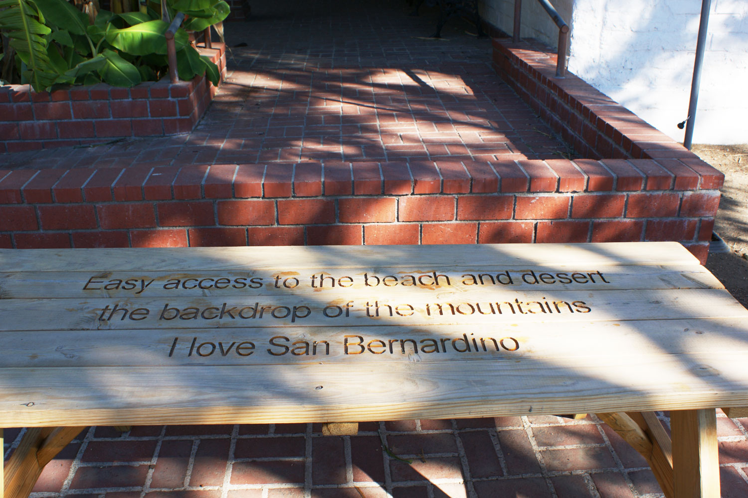 Outdoor Table Carved with Quotes About San Bernardino