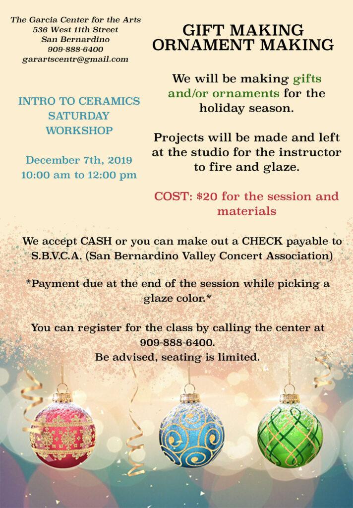 December Ceramics Workshop for Gifts and Ornament Making