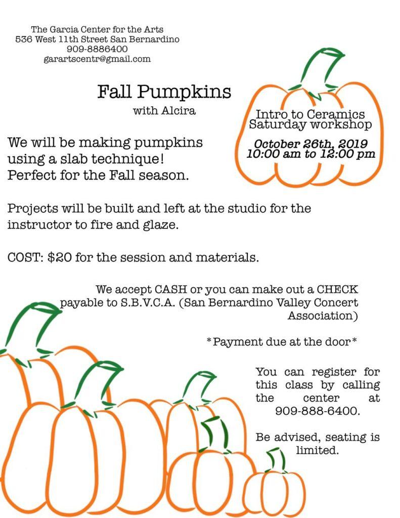 One Day Ceramics Class Flyer Pumpkins
