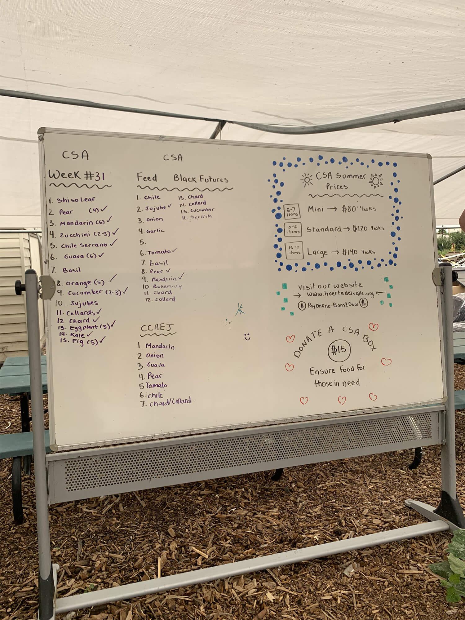 Whiteboard of Ideas at Huerta del Valle