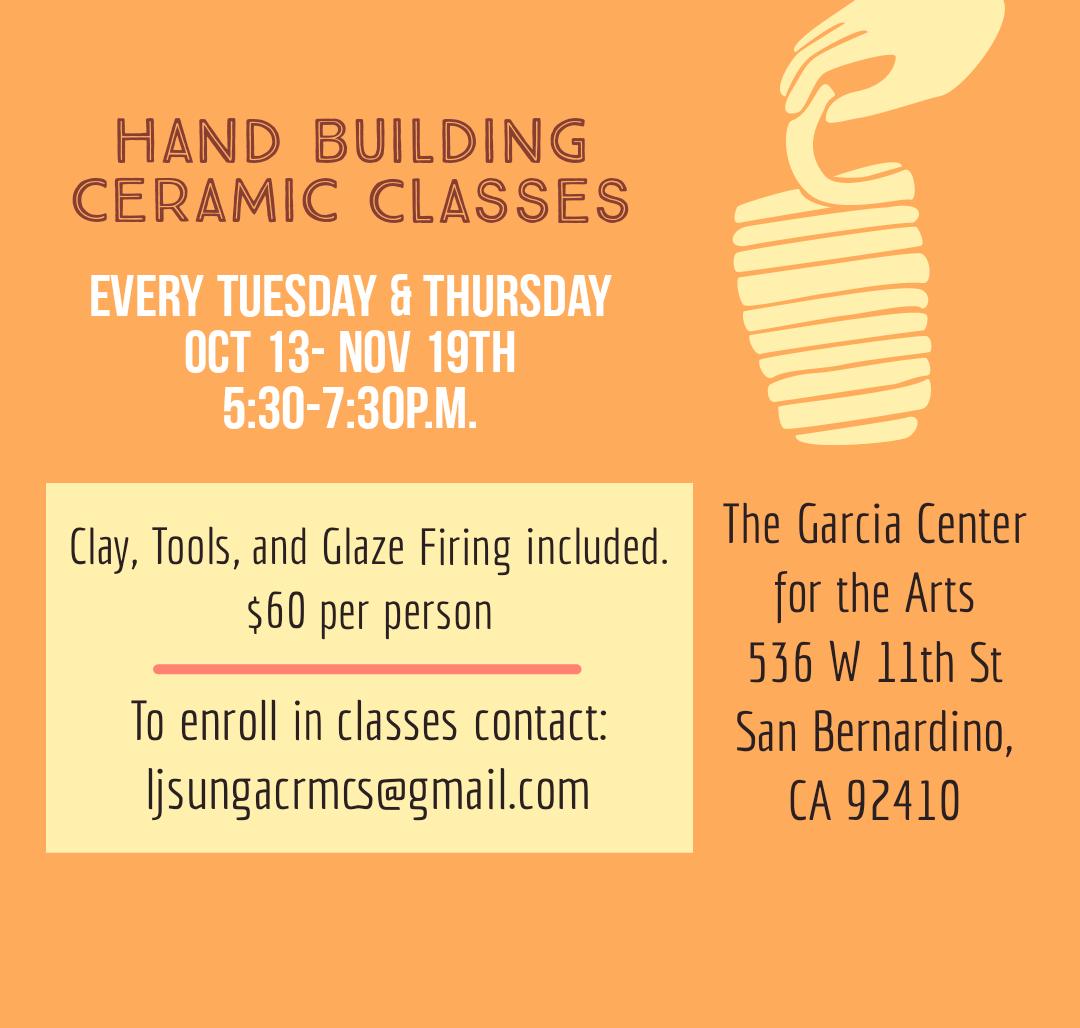 Hand Building Ceramic Classes Flyer
