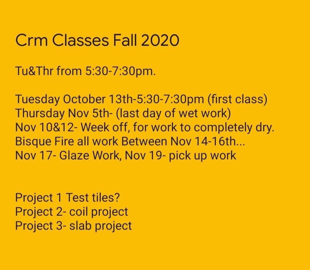 Ceramic Classes Fall 2020