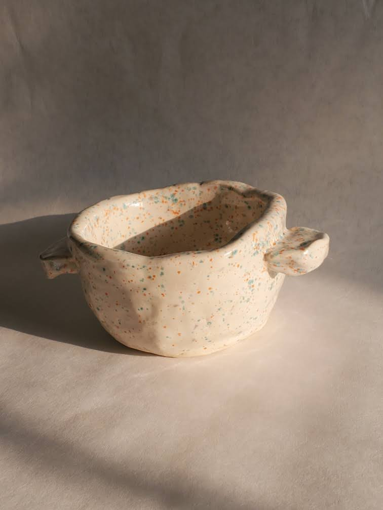 Speckled Bowl with Handles